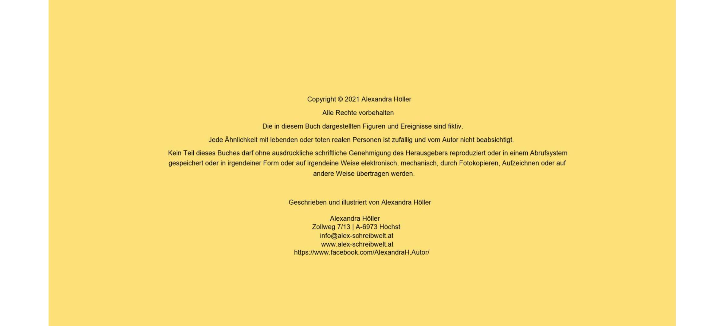"""Alexandra Höller Impressum E-Book """"Honeys großes Abenteuer"""""""